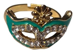 New Drama Mask Adjustable Statement Ring One Size Green Gold J2247 Summersale