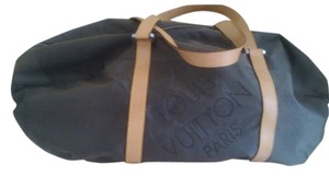 Louis Vuitton Tan straps Gray Canvas Travel Bag