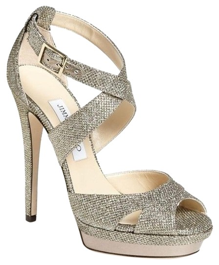 Jimmy Choo Pump Glitter Lame New With Out Box Beige Sandals Image 1