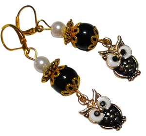 New Handmade Owl Charm Earrings Black Gold Long J2248