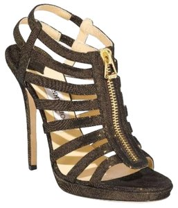 Jimmy Choo Heels Zipper Detail Gladiator Shimmer Brown Sandals