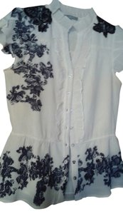 & Other Stories Lace Button Down Shirt off white and black