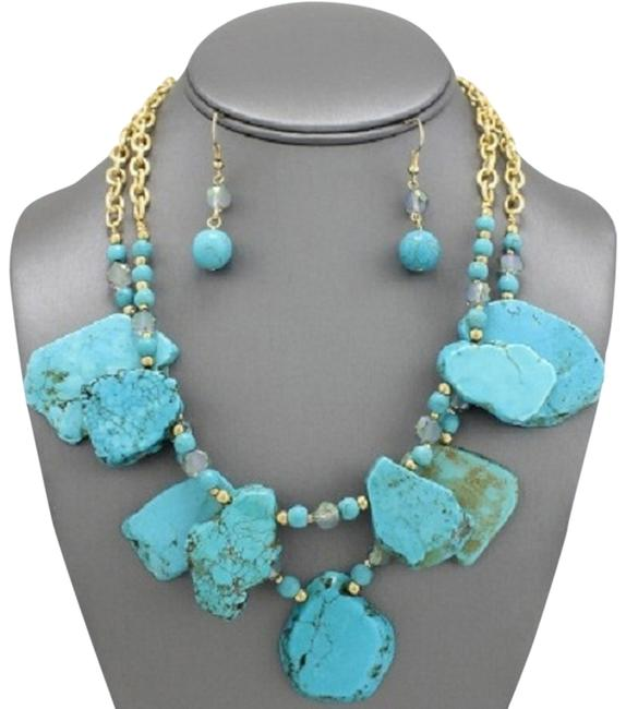 Turquoise Gold Tribal Boho and Earring Set Necklace Image 1