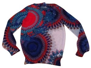 Desigual Top White w/ blue and red