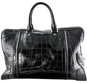 Gucci Rare Duffle Boston Shiny Black Crocodile Leather Travel Bag