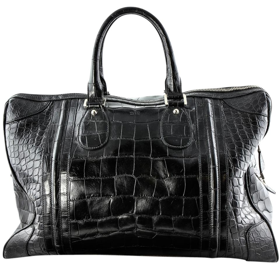 abd633e4e02d Gucci Boston   Rare Shiny Black Crocodile Leather Weekend Travel Bag ...