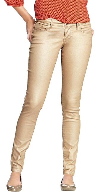 Old Navy Shimmer Metallic Jean Skinny Pants Champagne/Natural