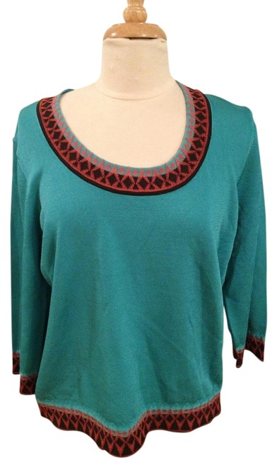 Preload https://item4.tradesy.com/images/jones-new-york-turquoise-scoop-neck-pullover-with-tribal-embellishment-tunic-size-16-xl-plus-0x-1338908-0-0.jpg?width=400&height=650