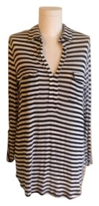 Spendid Button Down Shirt Black and white