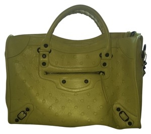 Balenciaga City Classic Polka Dot Satchel in Yellow