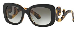 Prada PRADA Minimal BAROQUE 54mm Rectangular Sunglasses BLACK & HAVANA SIDES with GRAY Gradient Lenses