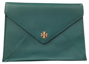 Tory Burch Patent Leather Gold Hardware turquoise green Clutch