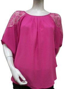 Sweet Rain Lace Shoulder Batwing Sleeve L55311 Top Pink