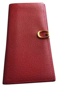 Gucci Authentic GUCCI Genuine Leather Red Long Wallet Good Condition
