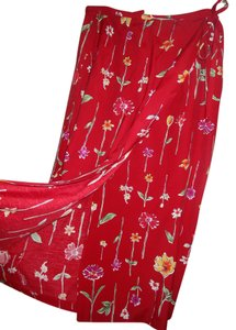 Coldwater Creek Spring Skirt Red with Flowers