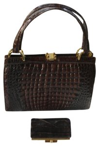 Other Crocodile Skin With Wallet 1970's Excellent Satchel in Maroon, burgundy, brown
