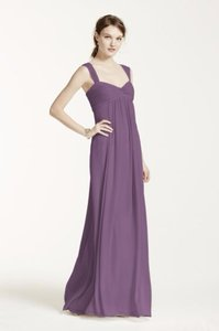 David's Bridal Wisteria Long Crinkle Chiffon Dress With Twist Front Detail Dress