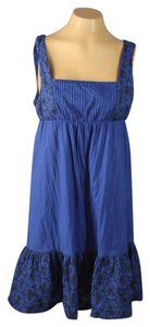 Anthropologie short dress Blue Sleeveless Pleats on Tradesy