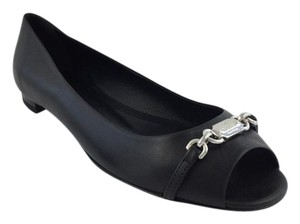 Gucci Peep Toe Flat Fucci Leather Black Flats