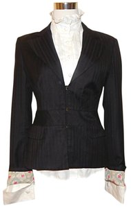 L.A.M.B. Pinstripe Pleated Black Blazer