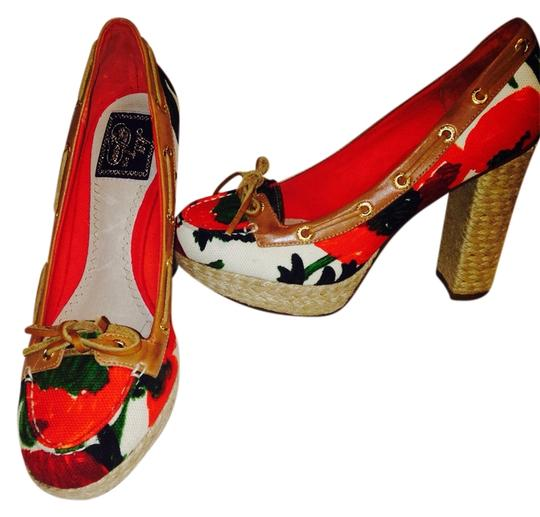 Sperry Leather/ multi floral Platforms