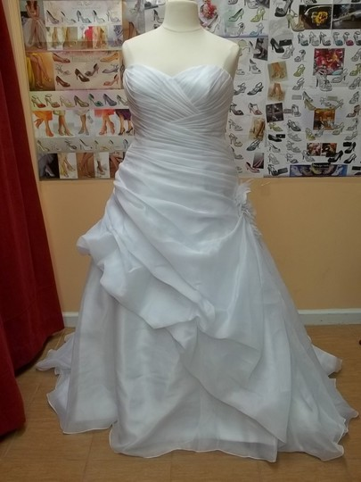 Alfred Angelo White Satin 2353 Formal Wedding Dress Size 18 (XL, Plus 0x)