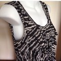 NY Collection Chiffon Tiered Sleeveless Tank Top Black Off White Image 1