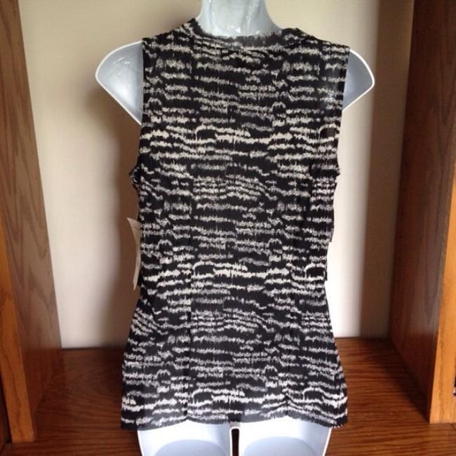NY Collection Chiffon Tiered Sleeveless Tank Top Black Off White Image 2