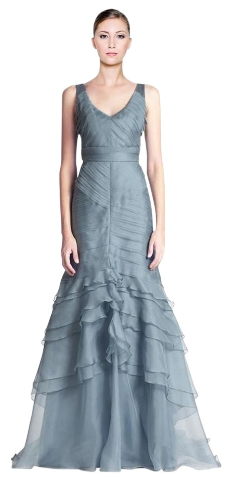 Theia Blue Chiffon and Satin A-line Long Formal Dress Size 14 (L ...