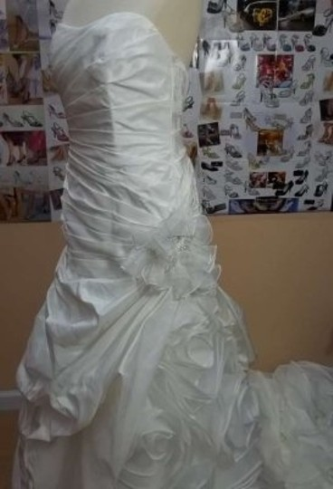 Alfred Angelo Diamond White Taffeta 2366 Formal Wedding Dress Size 12 (L)
