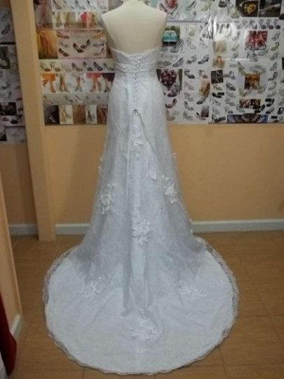 Alfred Angelo White Satin 2380 Formal Wedding Dress Size 8 (M)