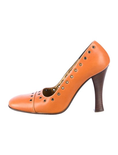 Dolce&Gabbana Dolce & Gabanna Square Toe Grommet Classic Italian Leather Stacked Heel Cognac Tan Pumps