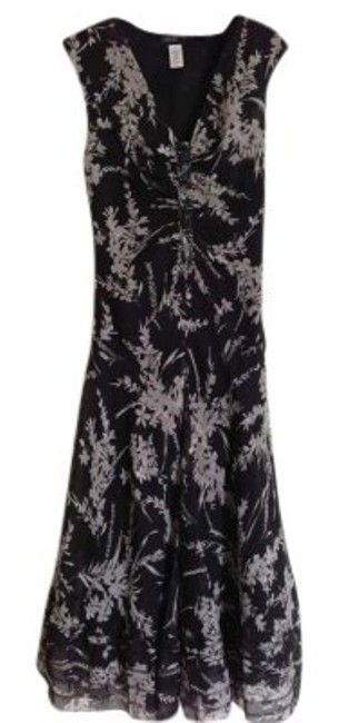 Item - Black Gray and White Floral Silk Long Work/Office Dress Size 10 (M)
