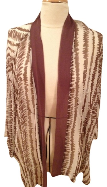 Preload https://img-static.tradesy.com/item/1339563/white-and-brown-sheer-silk-jacket-by-large-cardigan-size-14-l-0-0-650-650.jpg