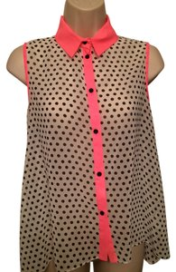 French Atmosphere Sheer Polka Dots Top White