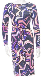 Emilio Pucci Longsleeve Monogram Belted Silk Dress