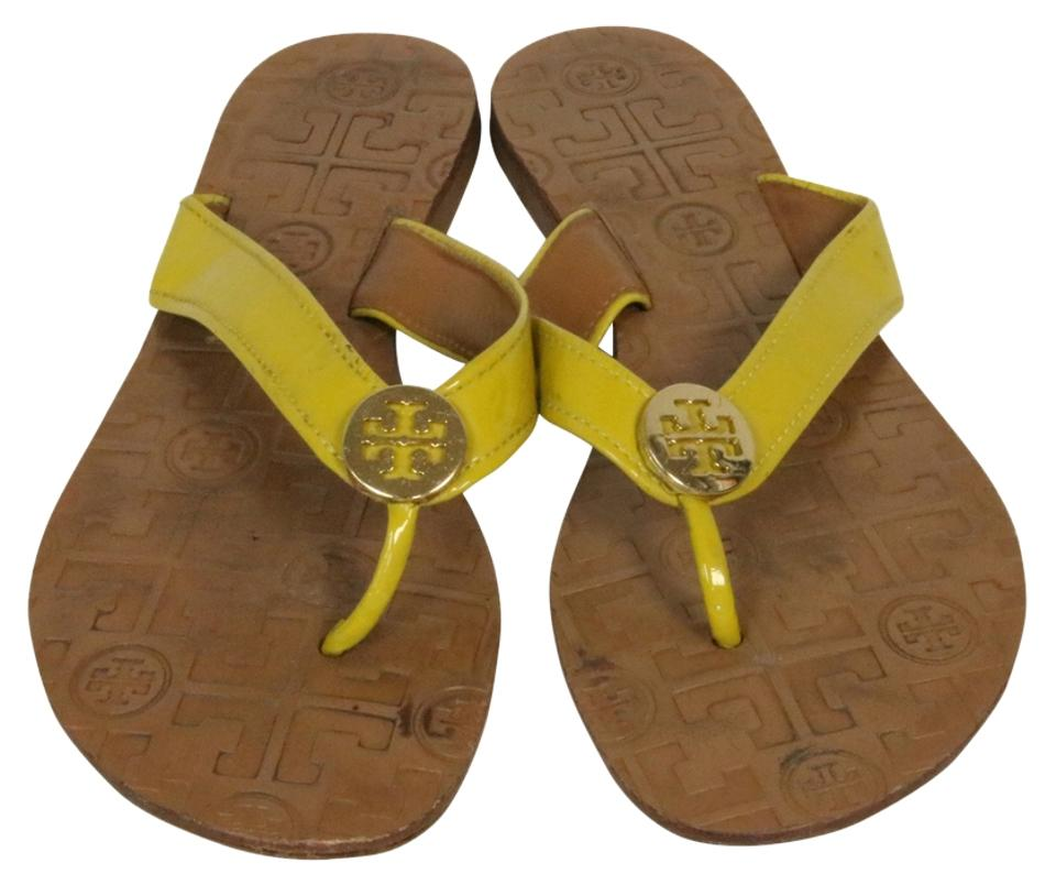 Tory Patent Burch Yellow Thora Patent Tory Leather Gold Logo Sandals 9a8d8a