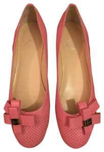 Versace Perforated Flat Bow Pink Flats