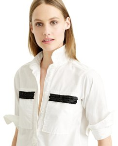 J.Crew Chevron Popover Tunic Cotton Button Down Shirt White