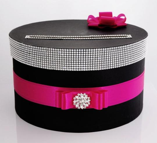 Card Box / Box / Money Box with Nameplate Black with Hot Pink Other