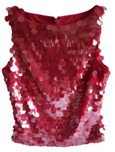 Rimini Sequin Polyester Sleeveless Top RED