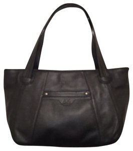 Anne Klein Leather Tote Handbag Satchel in Black