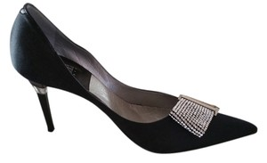 Rodolphe Menudier Rhinestone Dress Satin Black Pumps