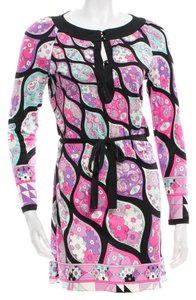 Emilio Pucci Longsleeve Silk Belted Print Dress