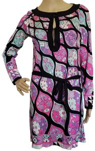 Emilio Pucci Longsleeve Silk Belted Sundress Floral Dress
