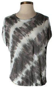 Young Fabulous & Broke Striped Tie Dye T Shirt Grey & White