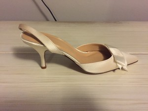 J.Crew White Satin Slingbacks with Bow Pumps Size US 5.5
