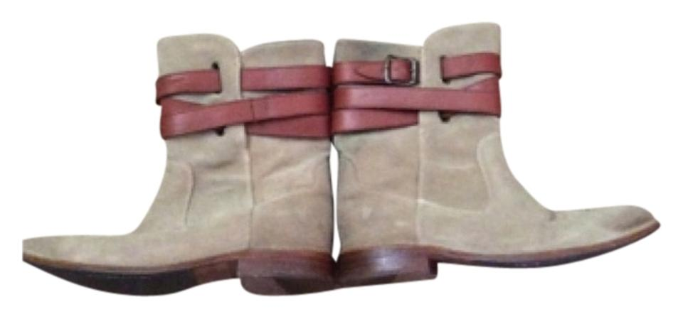 Frye Grey with Tan Tan with Strap Boots/Booties 6a0215