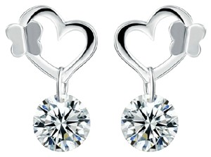 Other New 14K White Gold Filled Cubic Zirconia Stud Heart Earrings J2249