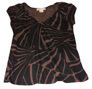 Michael Kors Animal Print Cap Sleeves T Shirt Brown